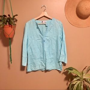 Carole Little 100% Linen Robins Egg Blue Shirt